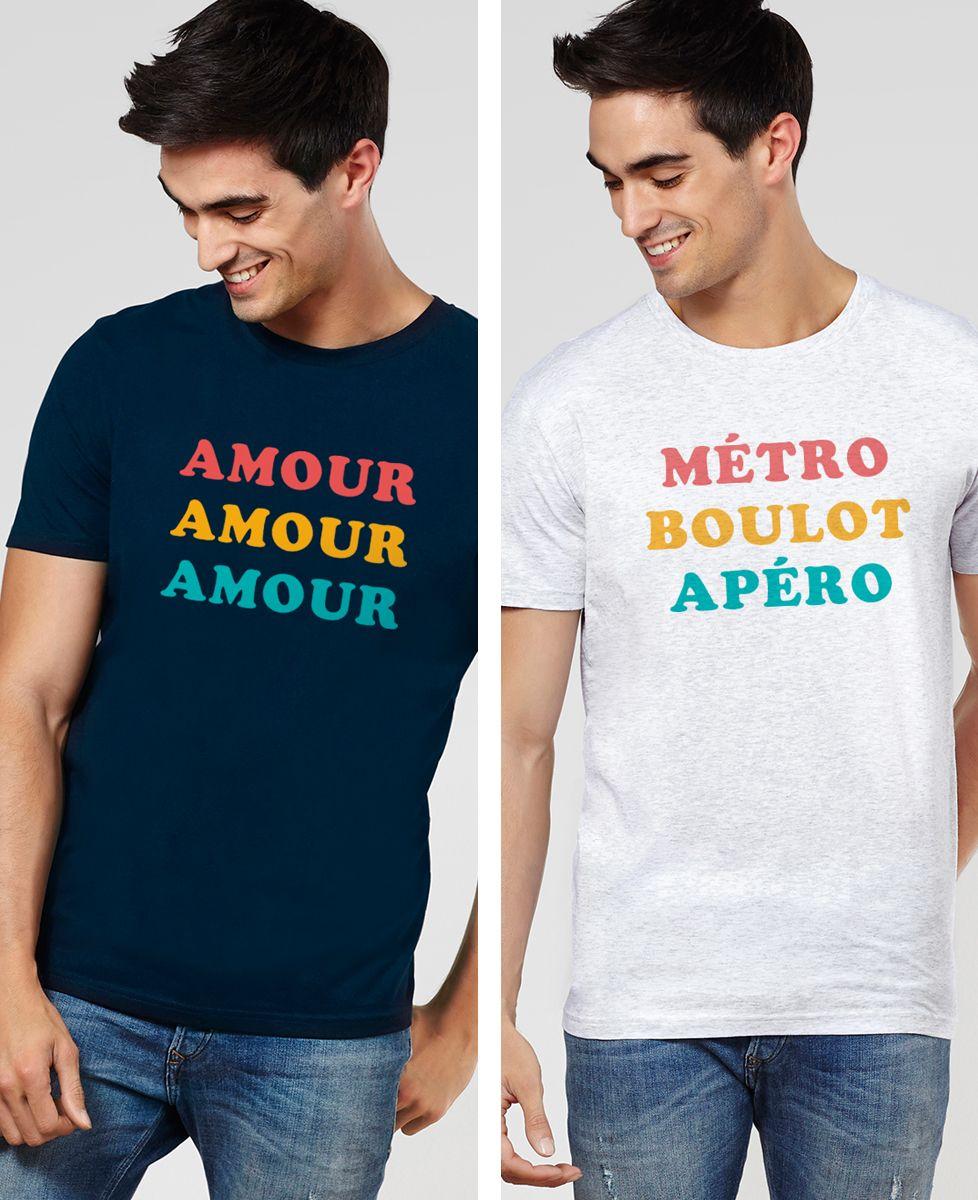 T-Shirt homme Trois couleurs imprimé personnalisé