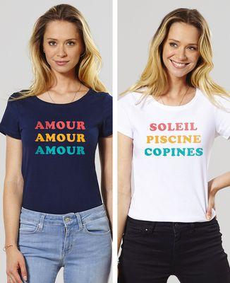 T-Shirt femme Trois couleurs imprimé personnalisé