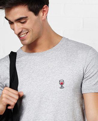 T-Shirt homme Coeur & Verre de vin (brodé)