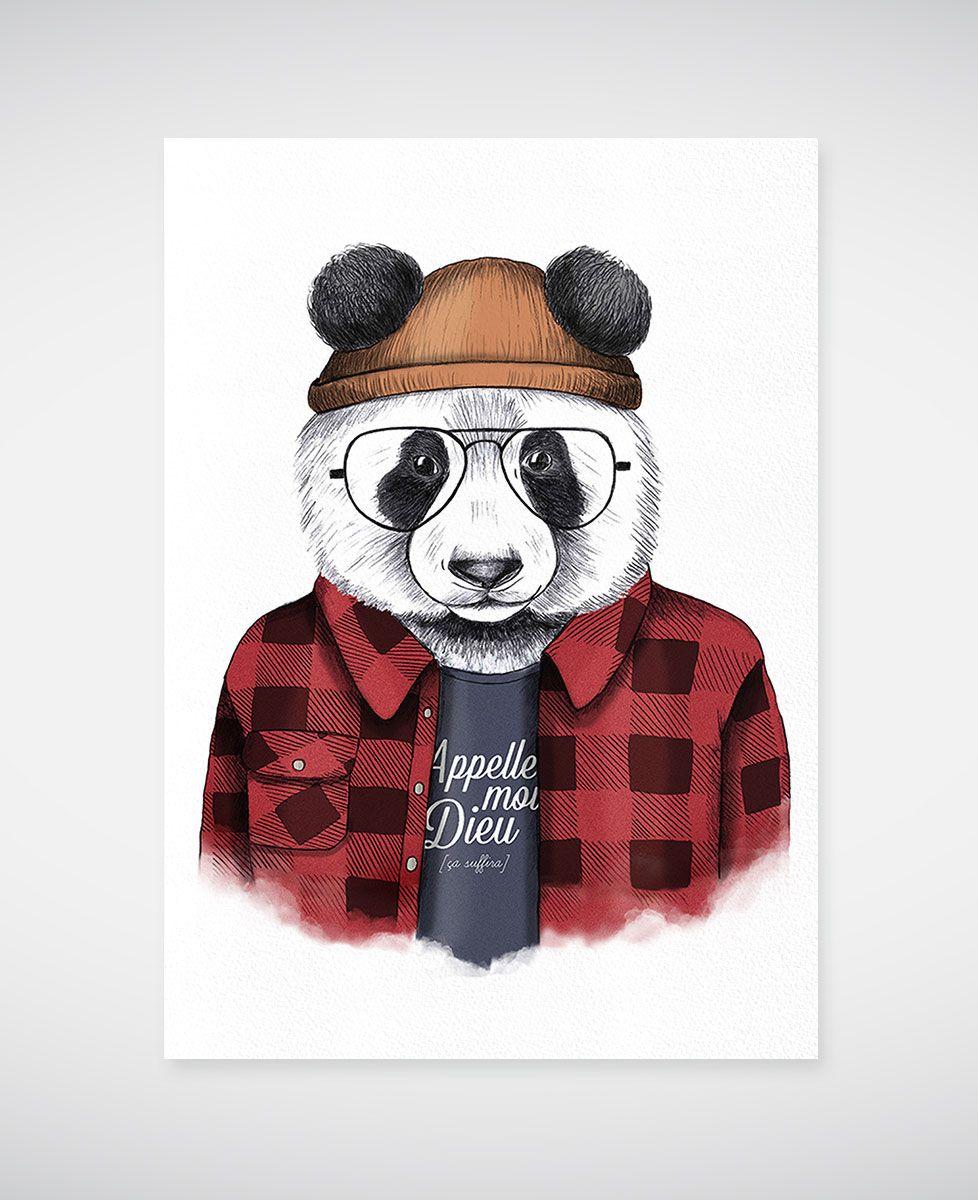 Affiche Panda hipster