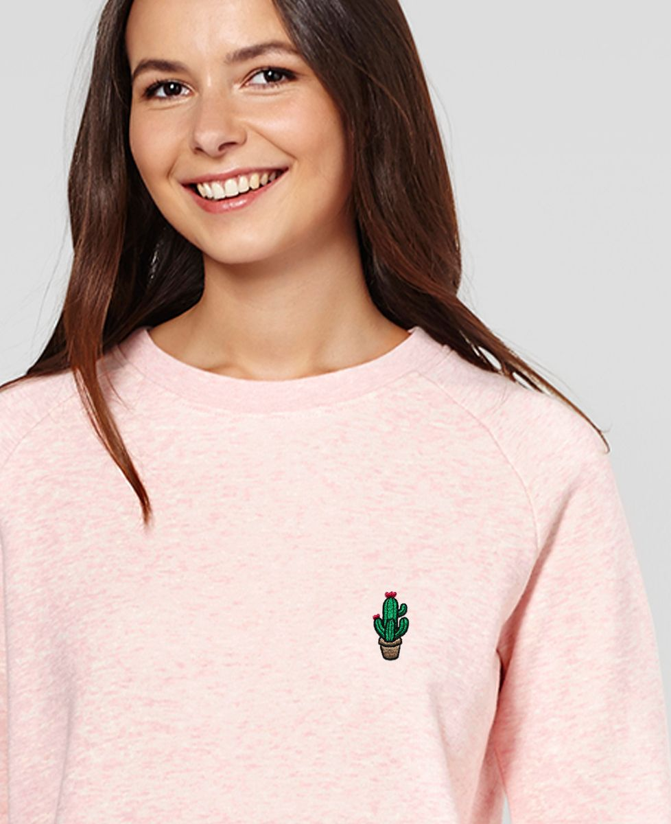 Sweatshirt femme Cactus pot (brodé)