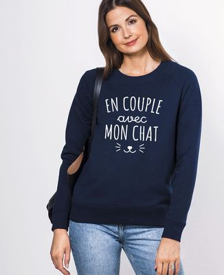 Sweatshirt femme En couple avec mon chat