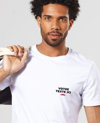 T-Shirt homme Message brodé personnalisé moustache