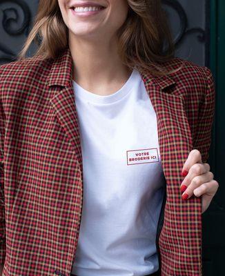 T-Shirt femme Message brodé personnalisé encadré