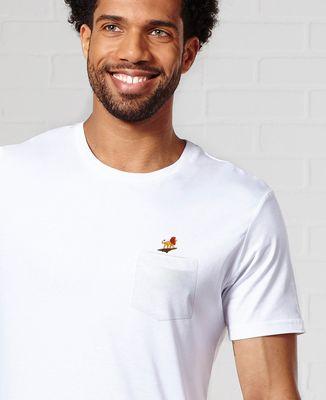 T-Shirt à Poche Lion rocher (brodé)