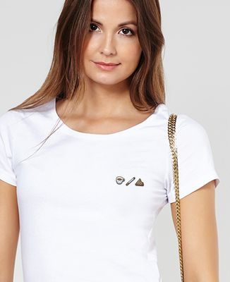 T-Shirt femme Café clope caca (brodé)