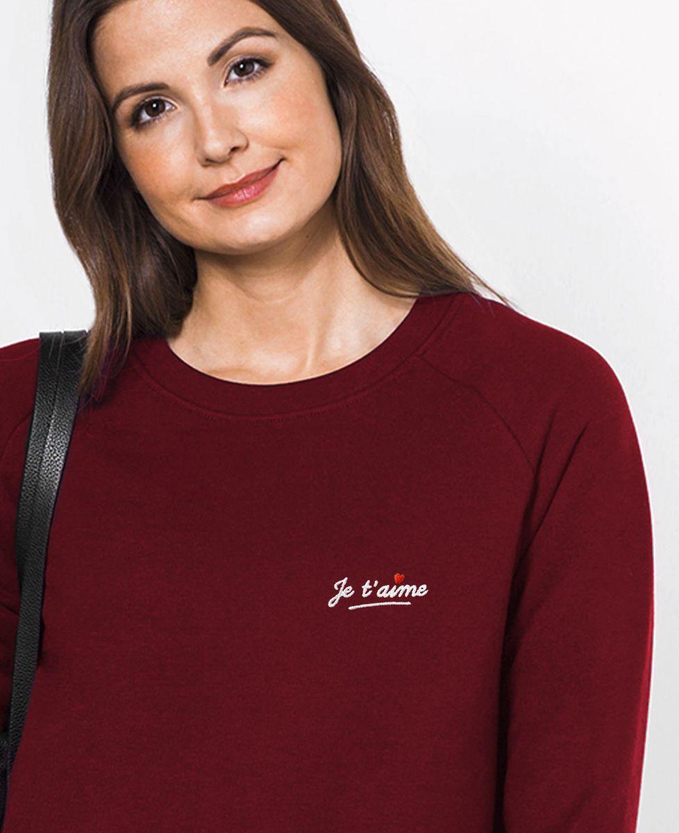 Sweatshirt femme Je t'aime (brodé)