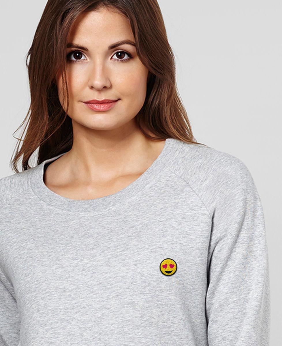 Sweatshirt femme Smiley coeur (brodé)
