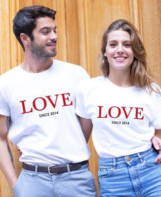 T-Shirt homme LOVE Since date personnalisée