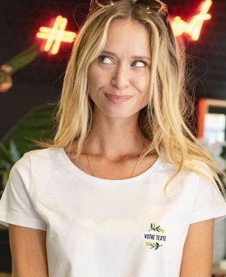T-Shirt femme Fleurs brodées personnalisé