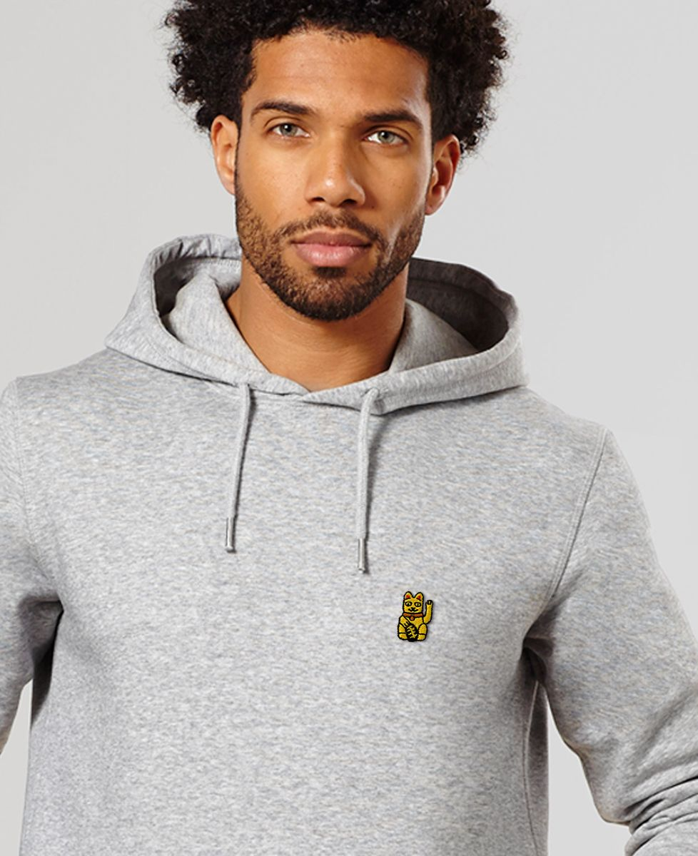Hoodie homme Lucky Cat (brodé)