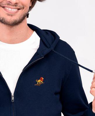 Hoodie zippé homme Lion rocher (brodé)