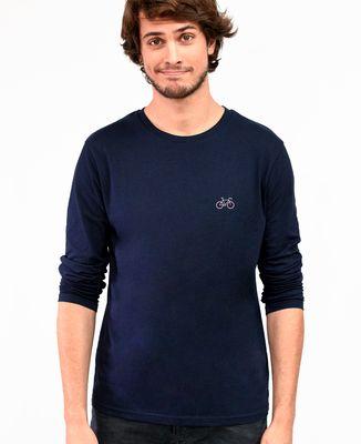 T-Shirt homme manches longues Vélo tricolore (brodé)