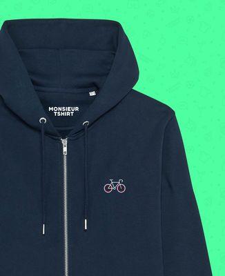 Hoodie zippé homme Vélo tricolore (brodé)