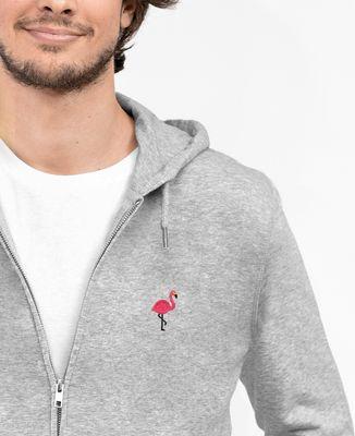 Hoodie zippé homme Flamant rose (brodé)