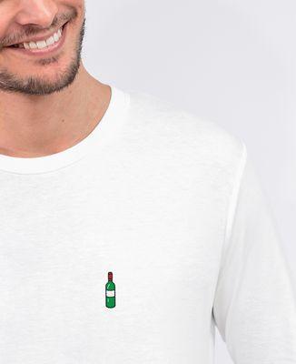 T-Shirt homme manches longues Bouteille de vin (brodé)