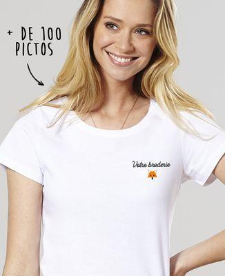 T-Shirt femme Message et picto brodés personnalisé