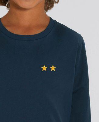 T-Shirt enfant manches longues Deux étoiles (brodé)