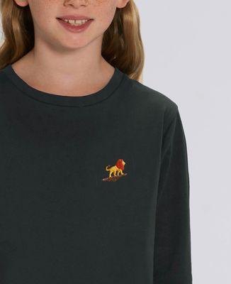 T-Shirt enfant manches longues Lion rocher (brodé)