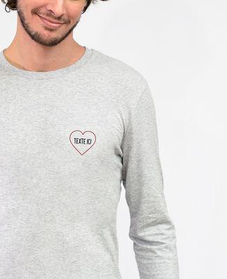 T-Shirt homme manches longues Grand coeur brodé personnalisé