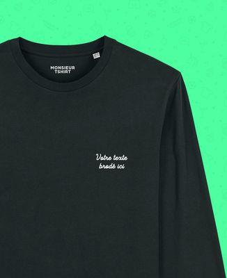 T-Shirt homme manches longues Message brodé personnalisé