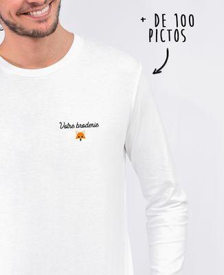 T-Shirt homme manches longues Message et picto brodés personnalisé
