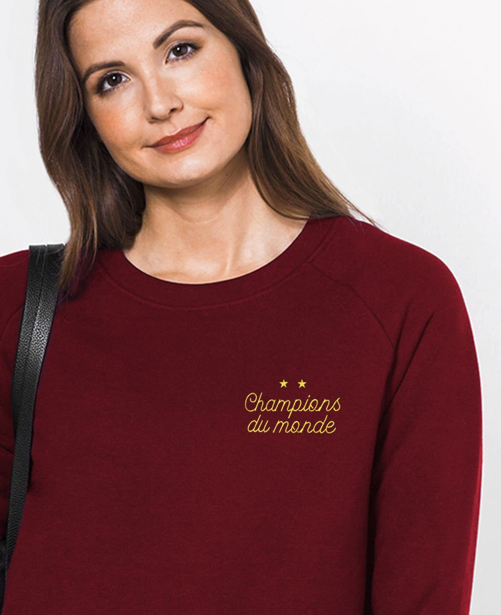 Sweatshirt femme Champions du monde brodé