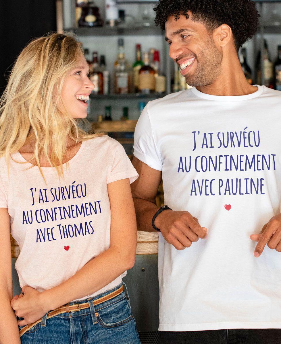 T-Shirt femme J'ai survécu au confinement personnalisé