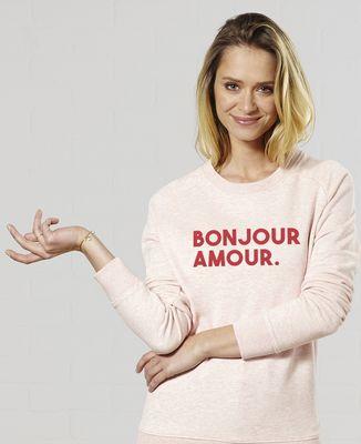 Sweatshirt femme Bonjour amour (effet velours)