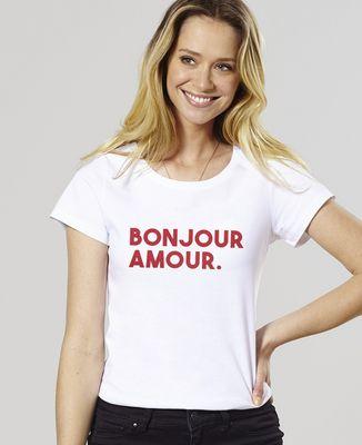 T-Shirt femme Bonjour amour (effet velours)