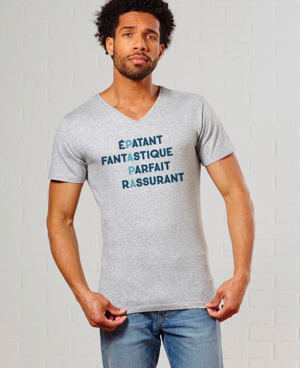 T-Shirt homme Papa Épatant Fantastique Parfait Rassurant