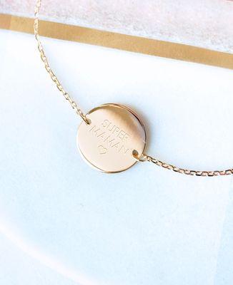 Bracelet Super Maman plaqué or