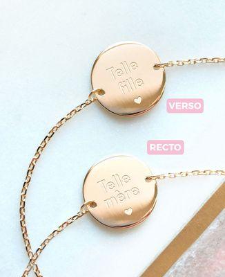 Bracelet Telle Mère/Telle Fille plaqué or (recto-verso)
