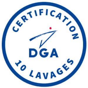 Certification - Certifié par la Direction Générale des Armées pour 10 lavages