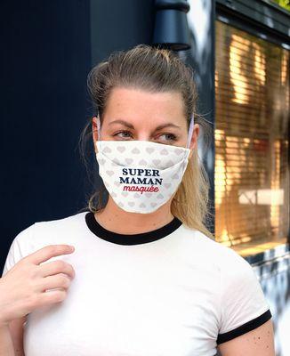 Masque de protection 2 masques Super maman masquée en coton bio