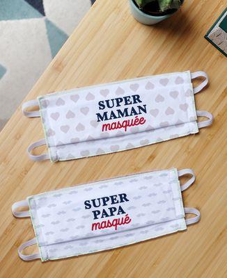 Masque de protection Duo de masques Super Papa Masqué / Super Maman Masquée