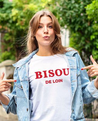 T-Shirt femme Bisou de loin (effet velours)