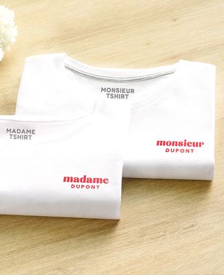 T-Shirt homme Monsieur brodé personnalisé