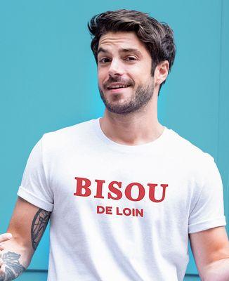 T-Shirt homme Bisou de loin (effet velours)