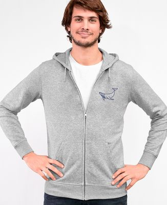 Hoodie zippé homme Baleine (brodé)