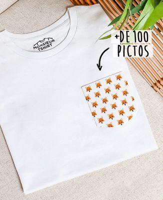 T-Shirt à Poche Motif de pictos personnalisable