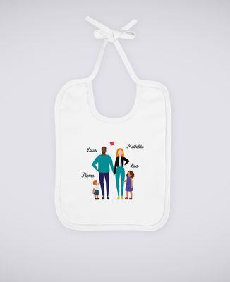 Bavoir Famille de 4 avec 2 parents personnalisé