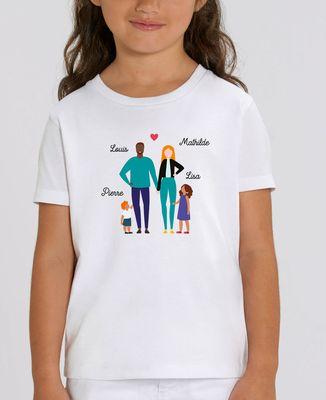 T-Shirt enfant Famille de 4 avec 2 parents personnalisé