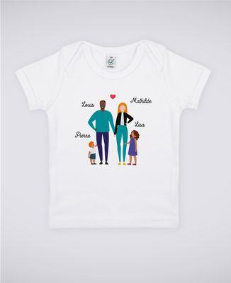 T-Shirt bébé Famille de 4 avec 2 parents personnalisé