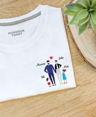 T-Shirt femme Famille de 4 avec 2 parents personnalisé
