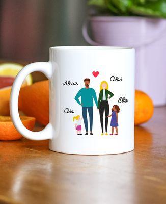 Mug Famille de 4 avec 2 parents personnalisé