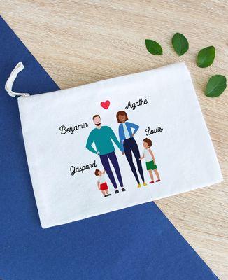Pochette Famille de 4 avec 2 parents personnalisé