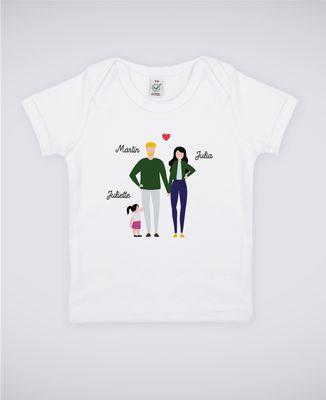 T-Shirt bébé Famille de 3 avec 2 parents personnalisé