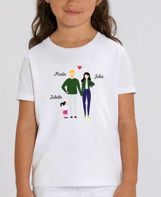 T-Shirt enfant Famille de 3 avec 2 parents personnalisé