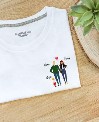 T-Shirt homme Famille de 3 avec 2 parents personnalisé